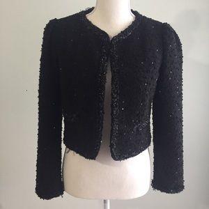 TRENDING Black Sequin Tweed Box Jacket Forever 21